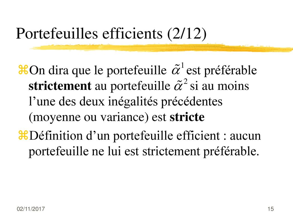 Portefeuilles efficients (2/12)