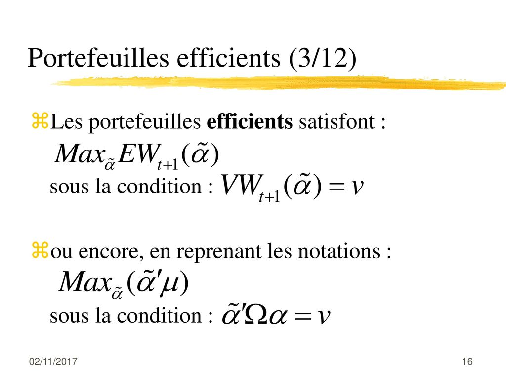 Portefeuilles efficients (3/12)