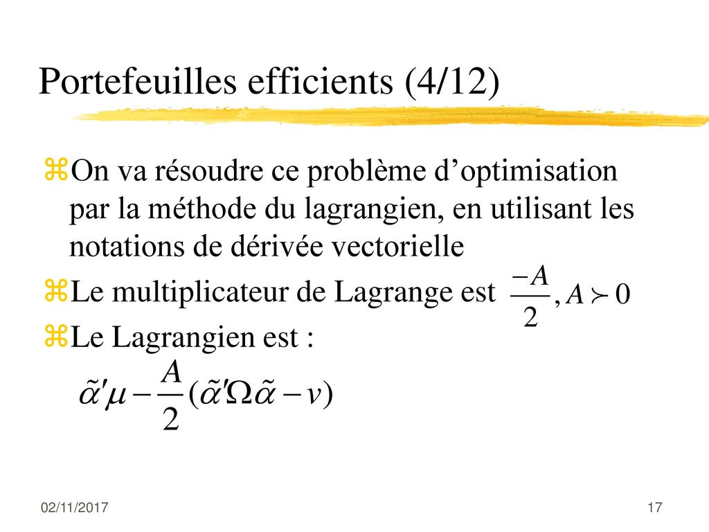 Portefeuilles efficients (4/12)