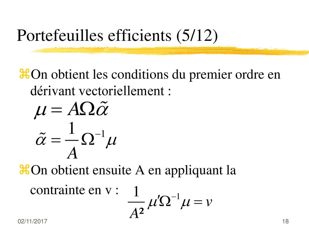 Portefeuilles efficients (5/12)