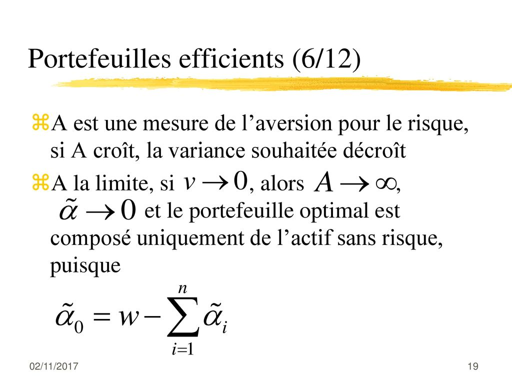 Portefeuilles efficients (6/12)