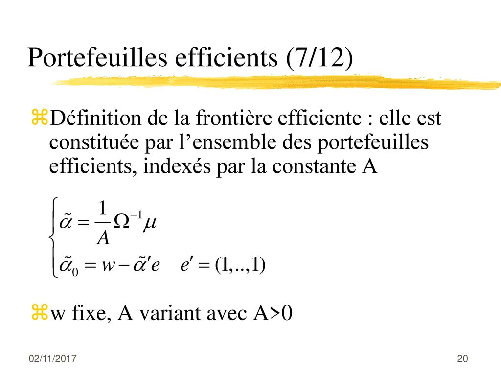 Portefeuilles efficients (7/12)