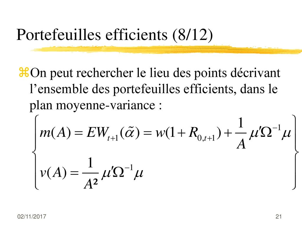 Portefeuilles efficients (8/12)