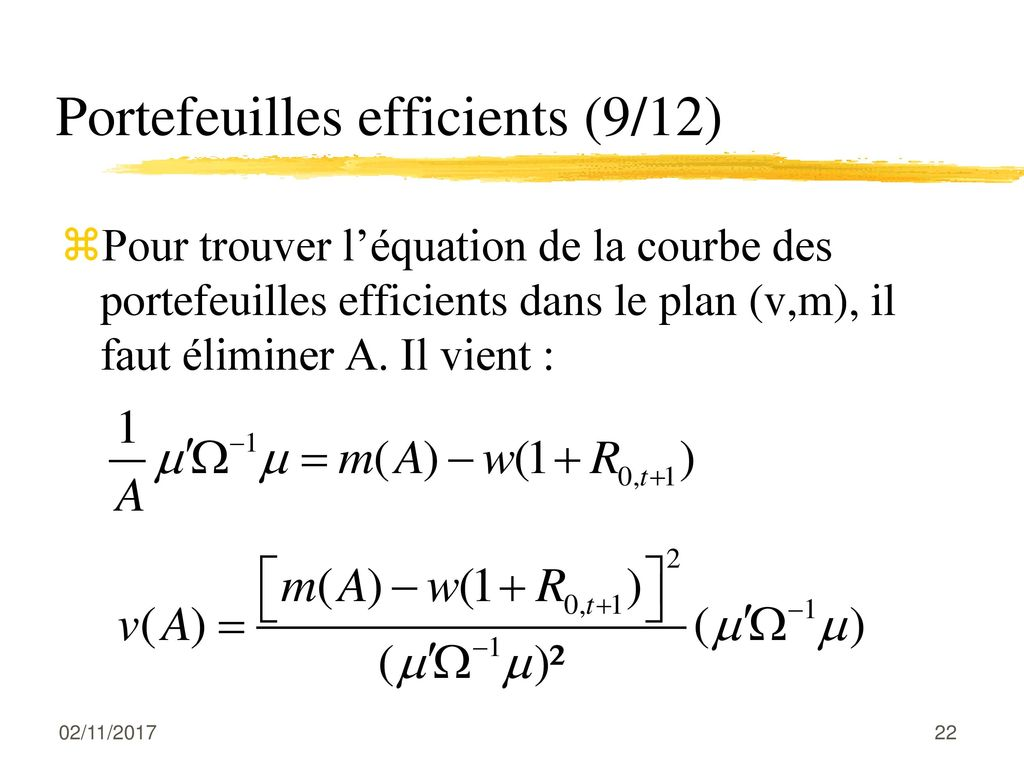 Portefeuilles efficients (9/12)