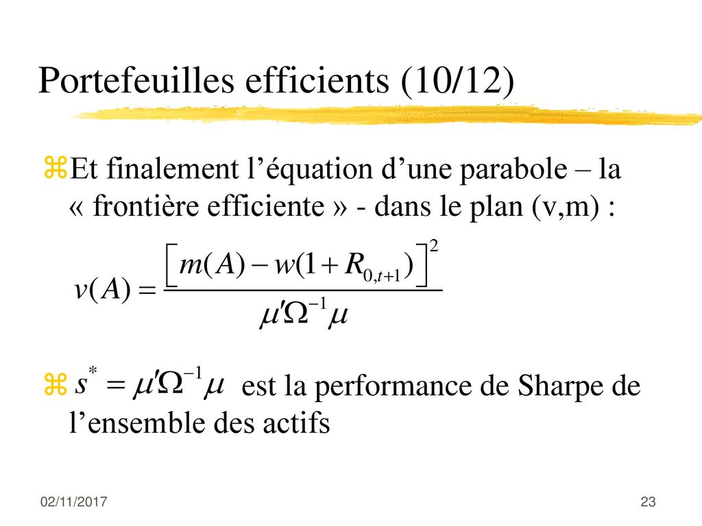 Portefeuilles efficients (10/12)