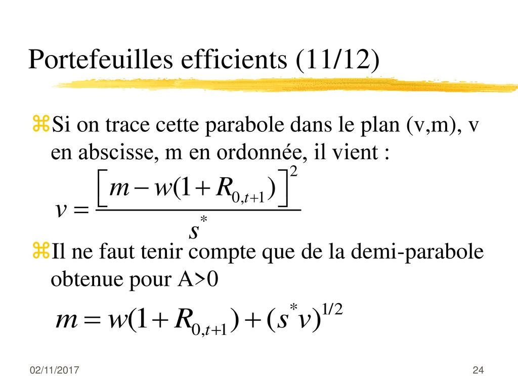 Portefeuilles efficients (11/12)