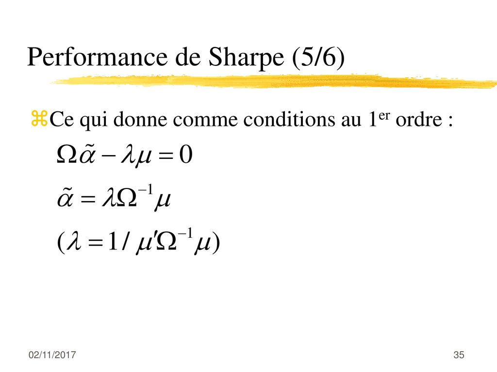Performance de Sharpe (5/6)