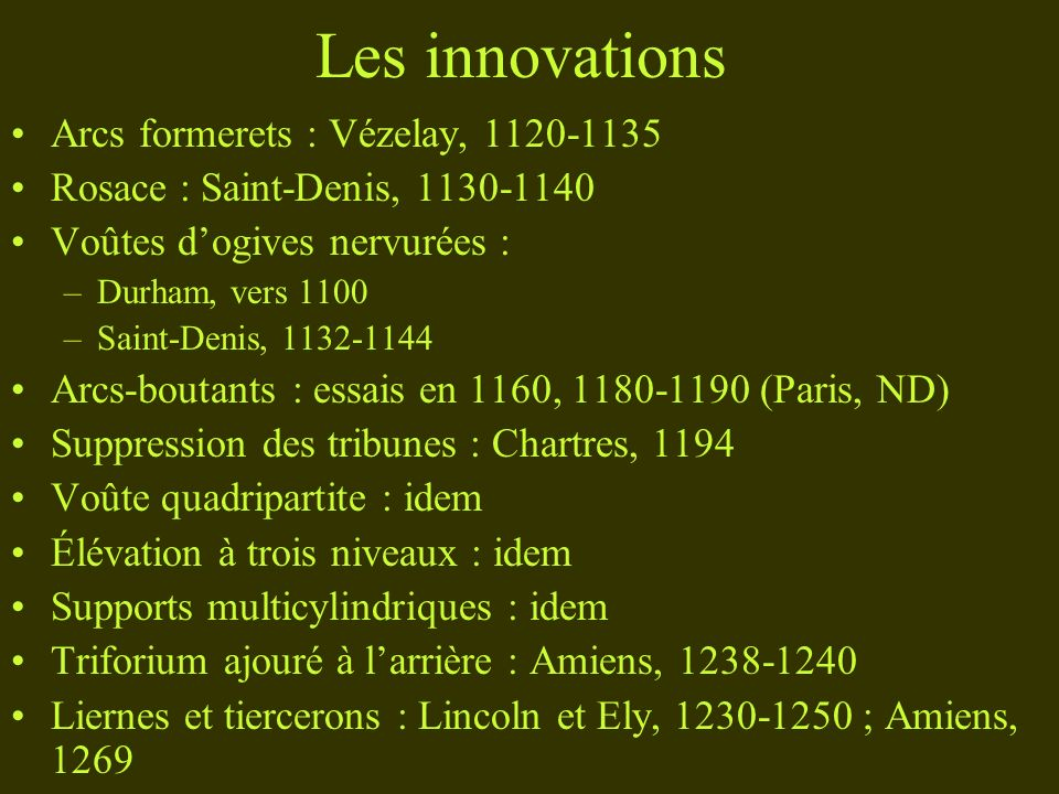 Les innovations Arcs formerets : Vézelay,