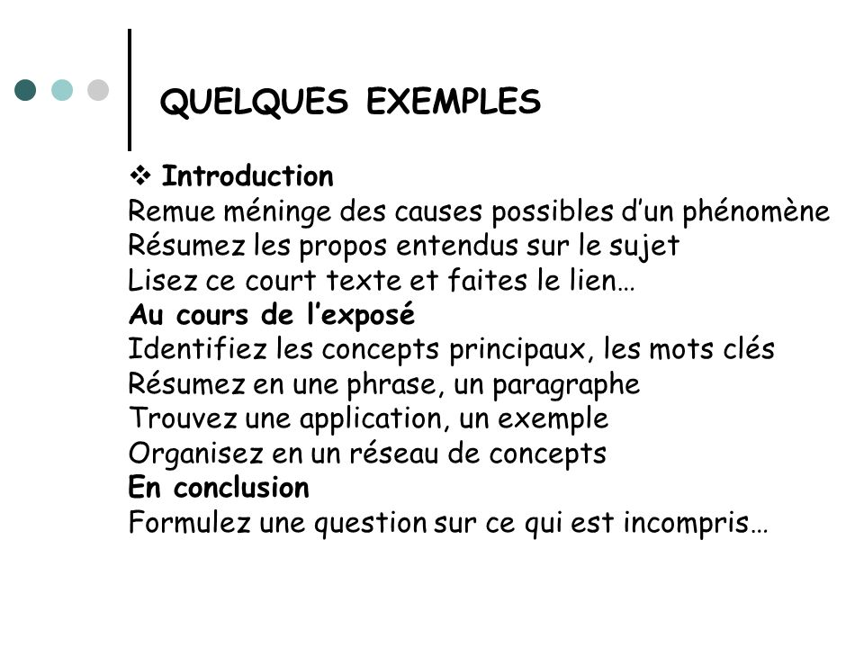 QUELQUES EXEMPLES Introduction