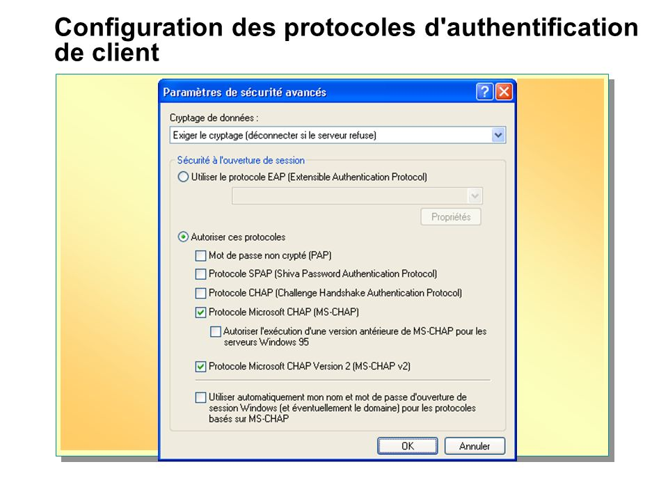 Configuration des protocoles d authentification de client