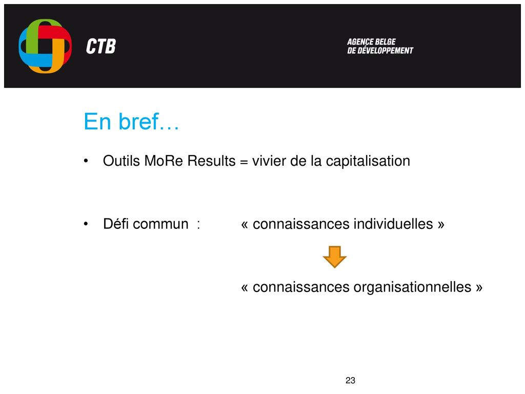 Evaluation et capitalisation
