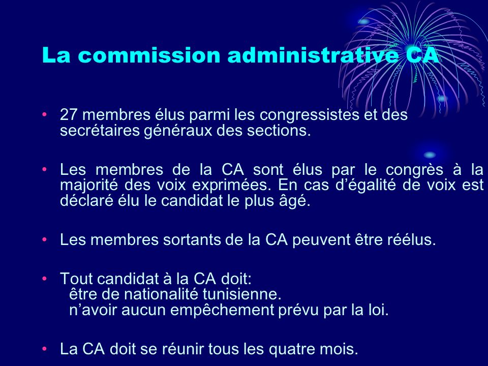 La commission administrative CA