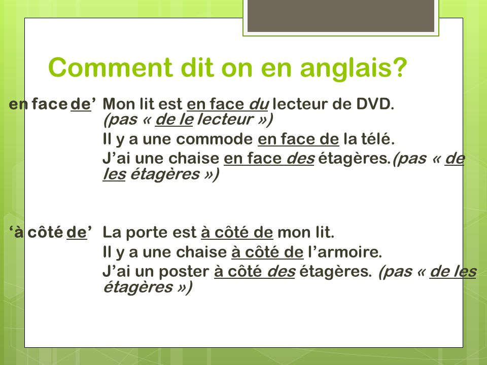 Comment dit on en anglais