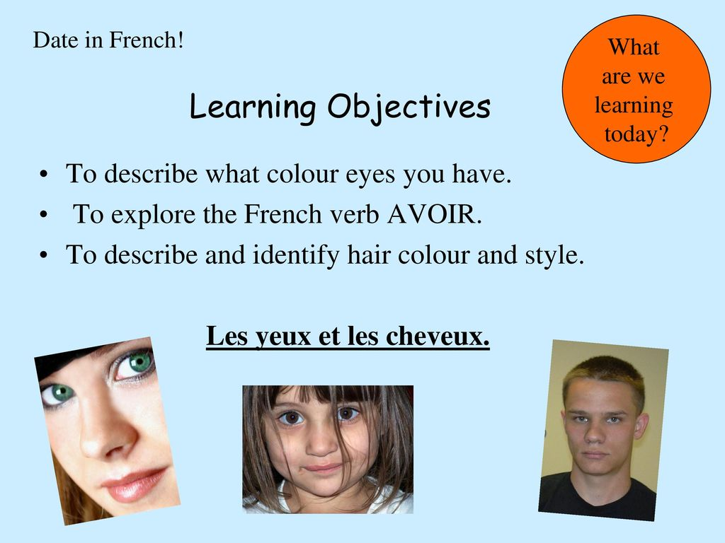 Learning Objectives To describe what colour eyes you have.
