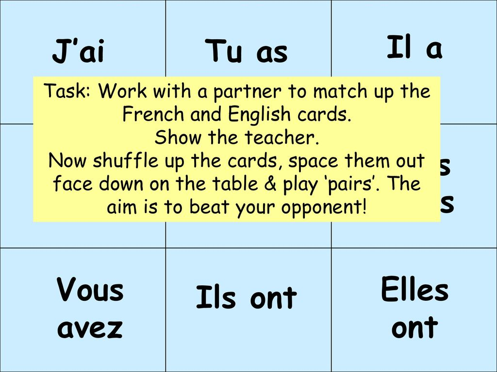 Task: Work with a partner to match up the French and English cards.