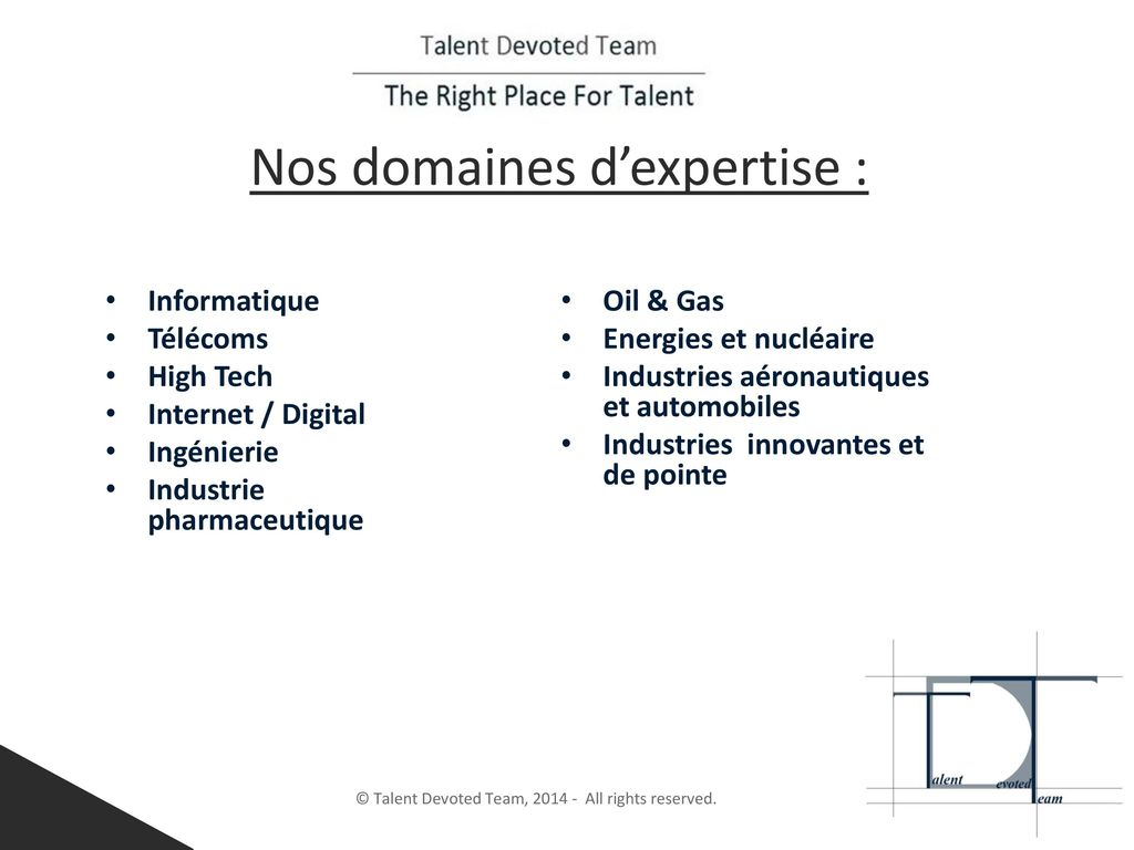 Nos domaines d'expertise :