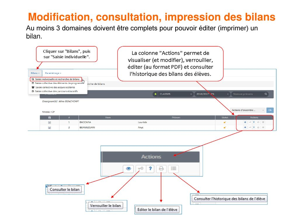 Modification, consultation, impression des bilans