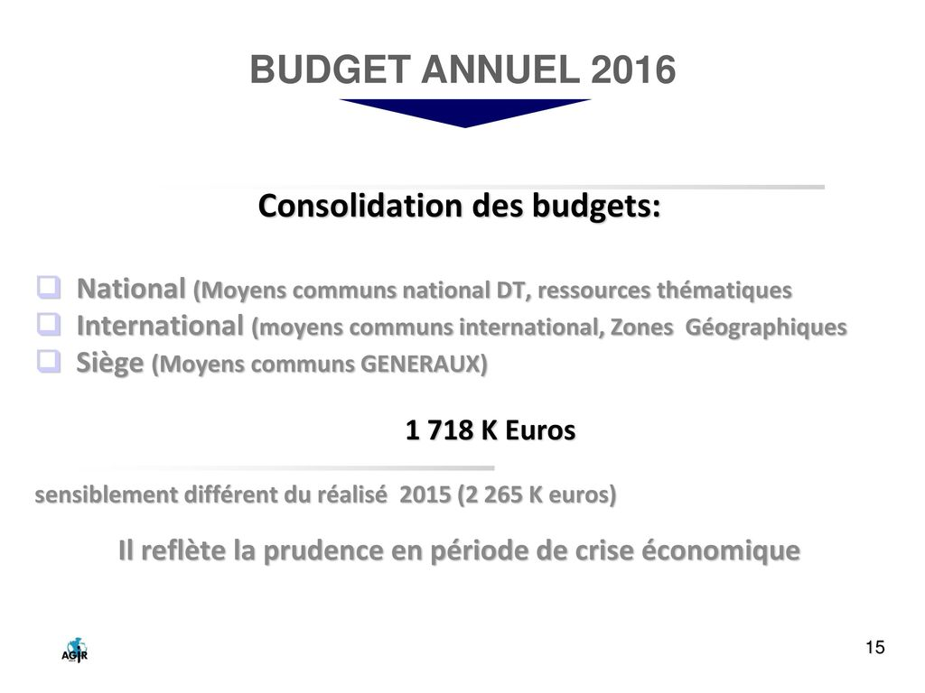 BUDGET ANNUEL 2016 Consolidation des budgets: