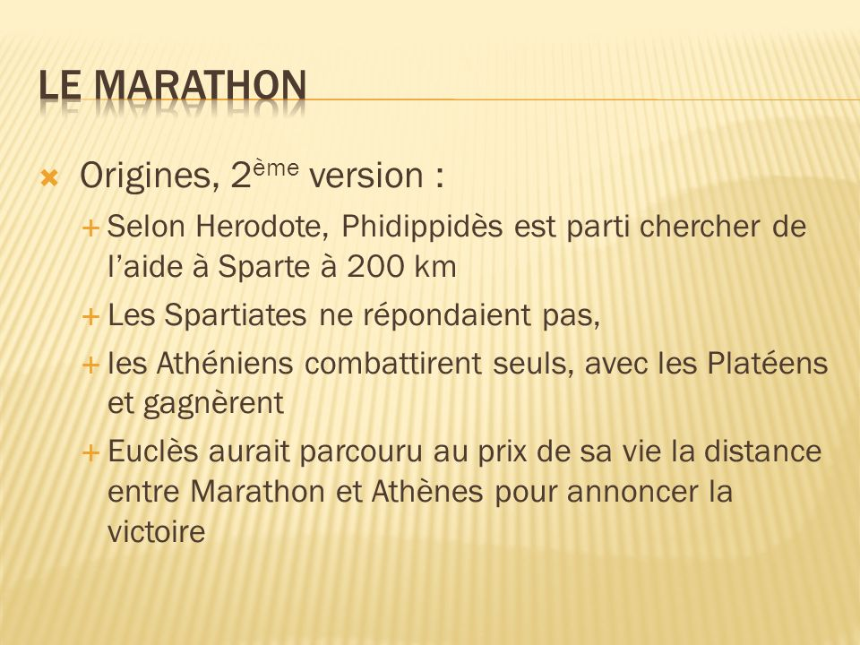 Le MARATHON Origines, 2ème version :