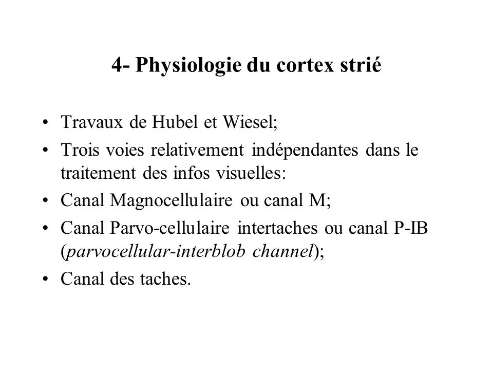 4- Physiologie du cortex strié