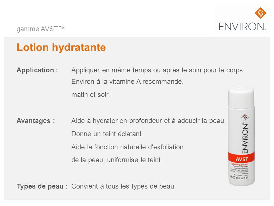 Lotion hydratante gamme AVST™