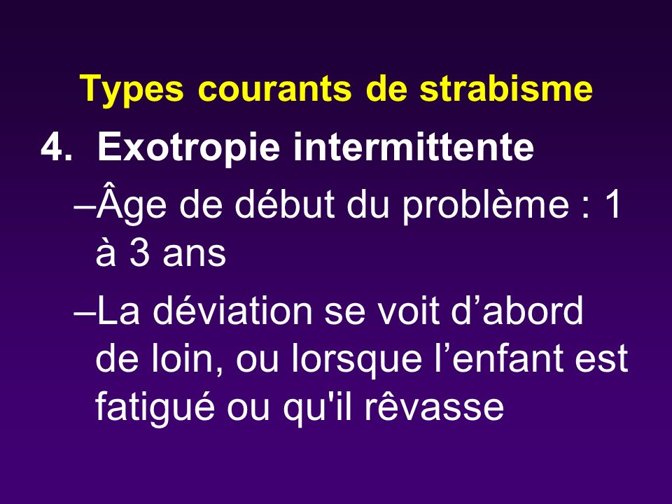 Types courants de strabisme