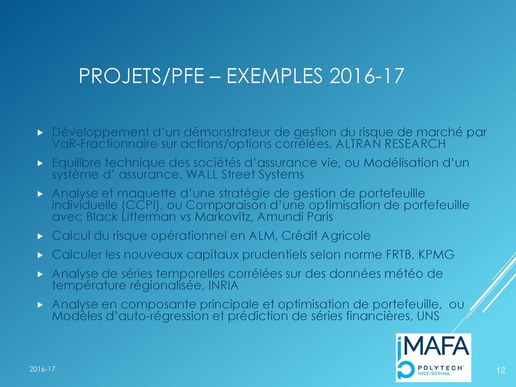 Projets/PFE – exemples