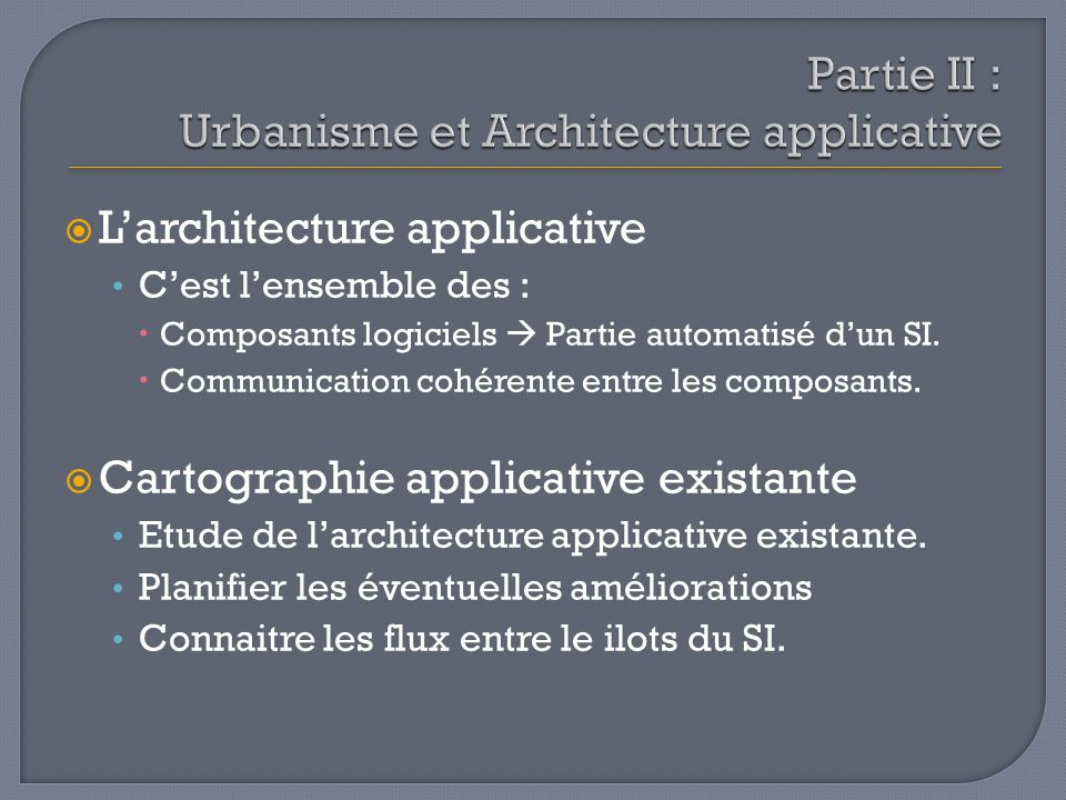 Partie II : Urbanisme et Architecture applicative