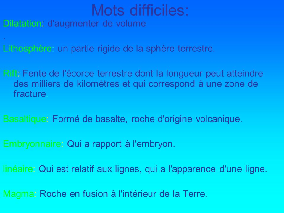 Mots difficiles: Dilatation: d augmenter de volume .
