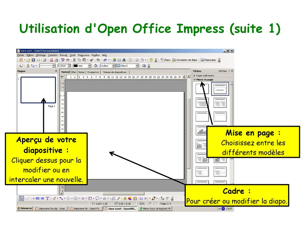 Utilisation d Open Office Impress (suite 1)