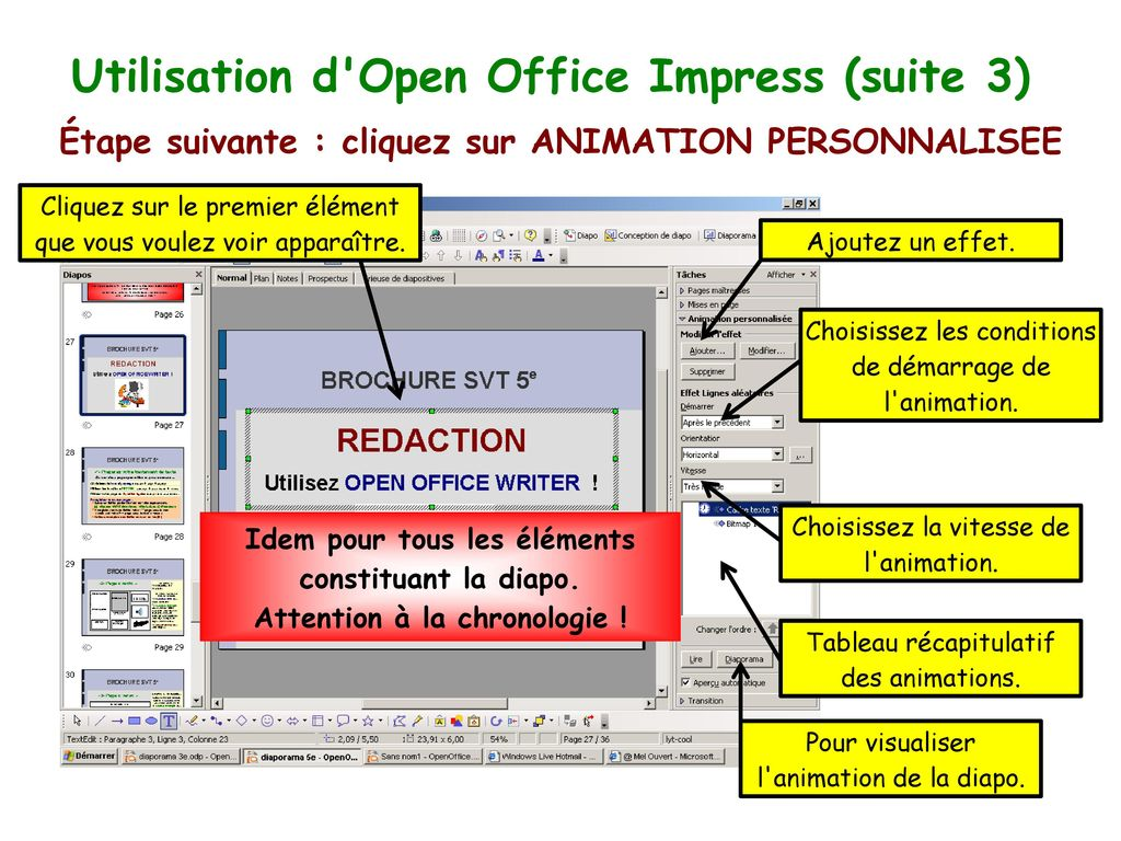 Utilisation d Open Office Impress (suite 3)