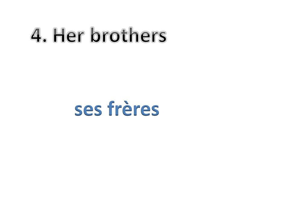 4. Her brothers ses frères