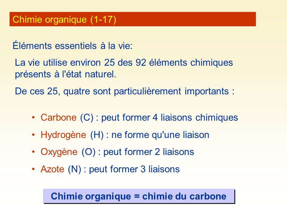 Chimie organique = chimie du carbone