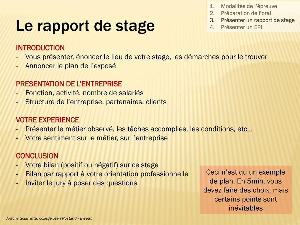 Conseils pour l expos oral ppt video online t l charger - Rapport de stage en cuisine ...