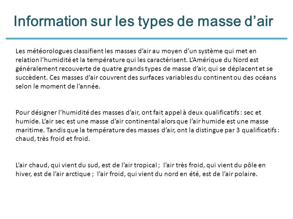 Information sur les types de masse d'air