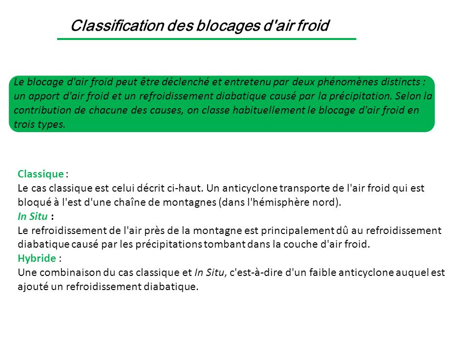 Classification des blocages d air froid
