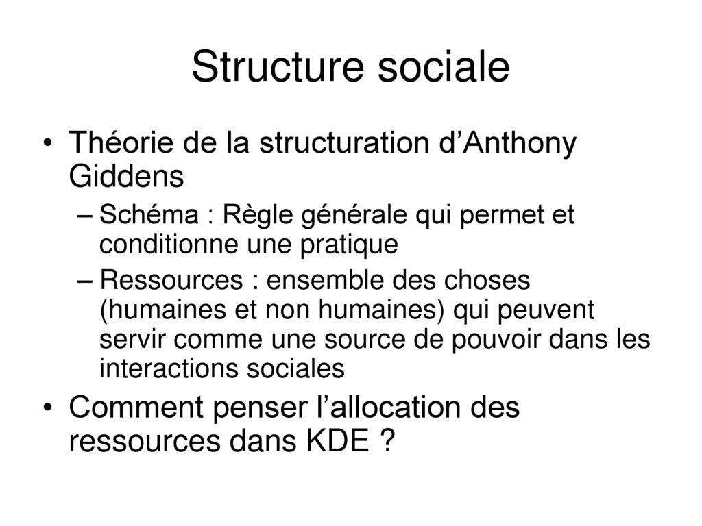 giddens théorie de la structuration