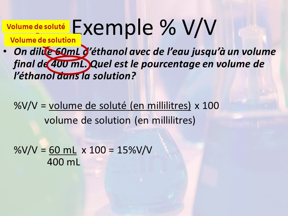 Exemple % V/V Volume de soluté. Volume de solution.