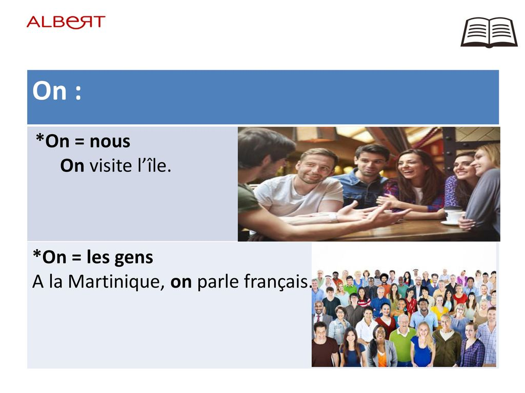 On : On visite l'île. *On = les gens