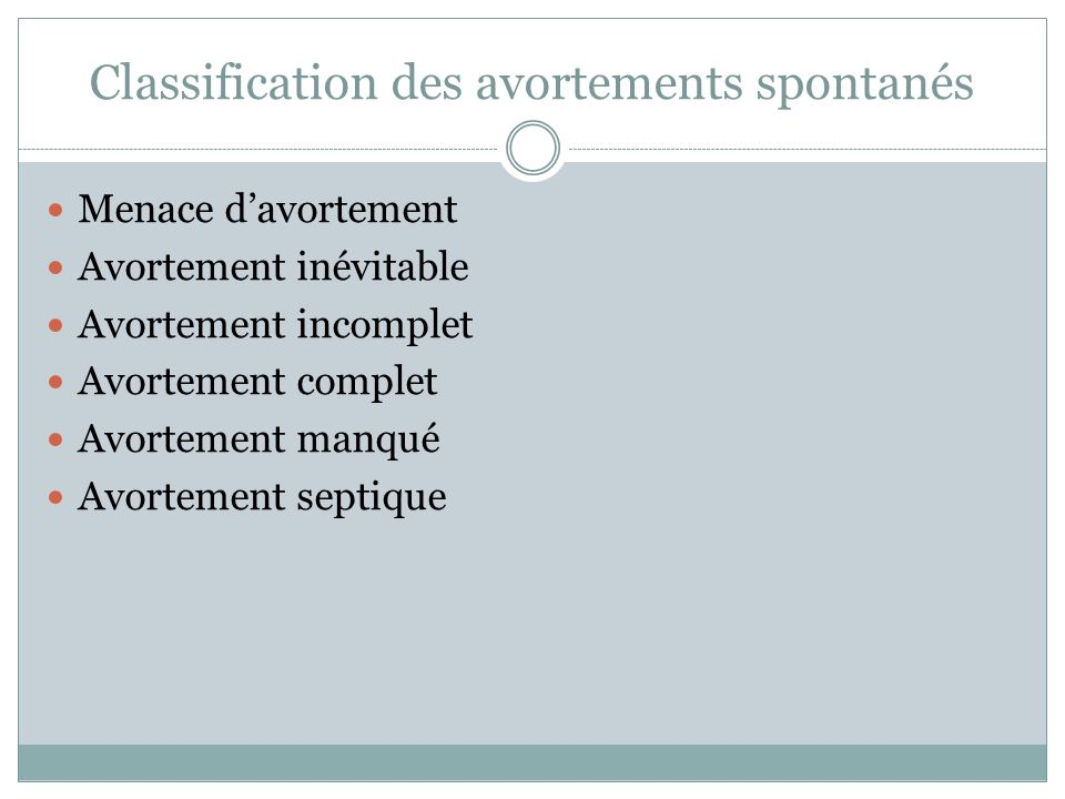 Classification des avortements spontanés