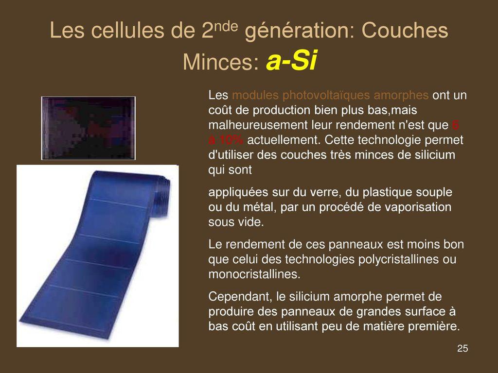 Cellule Photovoltaïque En Silicium Amorphe concernant les différentes technologies - ppt télécharger