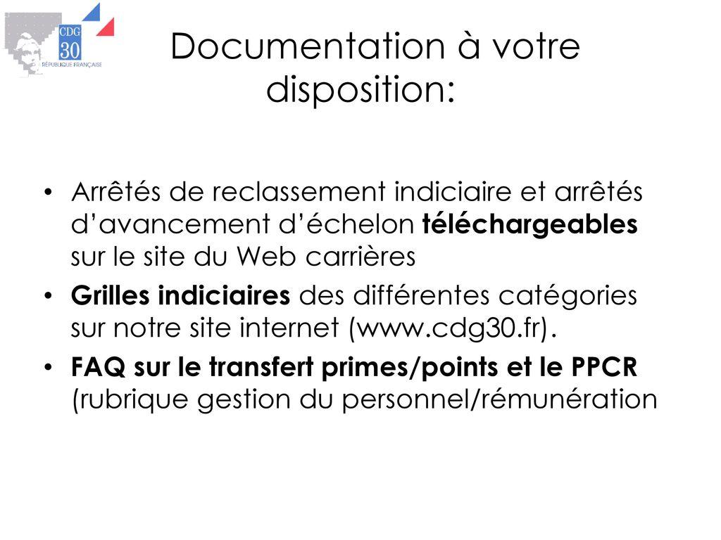 fc7eef36897 16 Documentation à votre disposition  Arrêtés de reclassement indiciaire ...