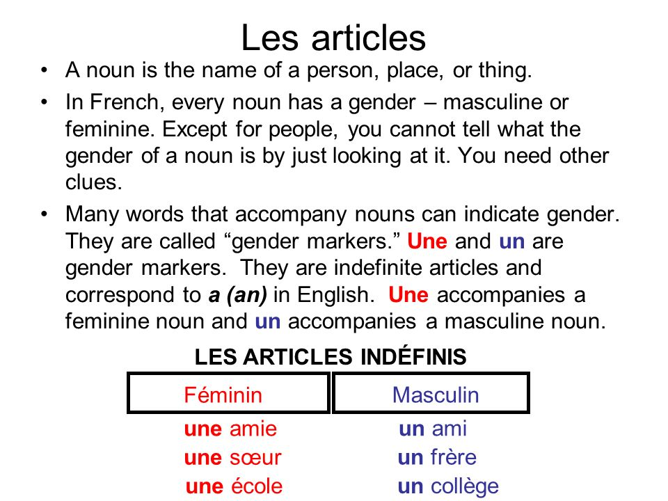 Les articles A noun is the name of a person, place, or thing.