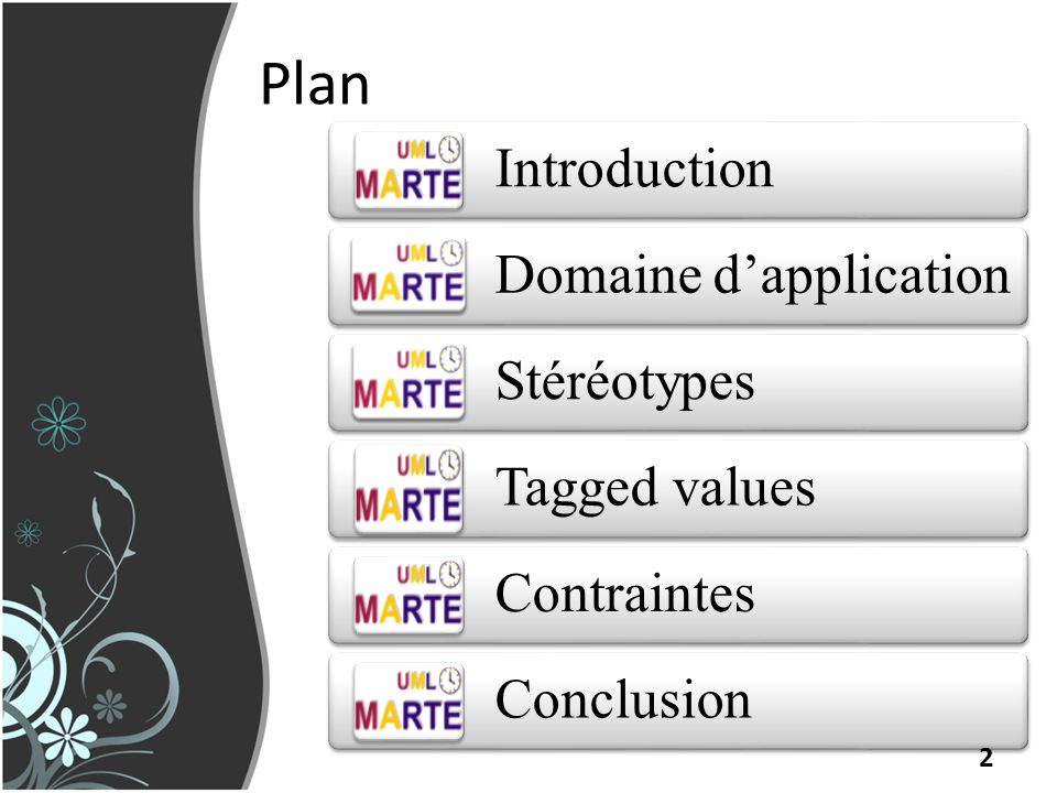 Plan Introduction Domaine d'application Stéréotypes Tagged values