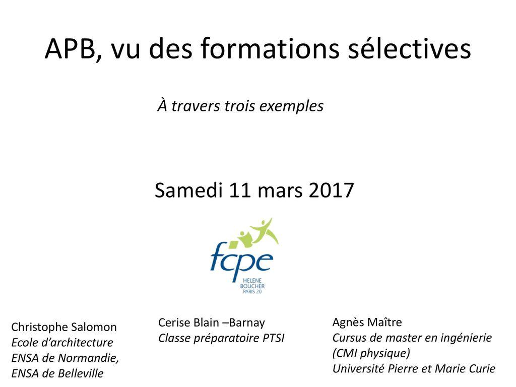 Apb Vu Des Formations Sélectives Ppt Télécharger