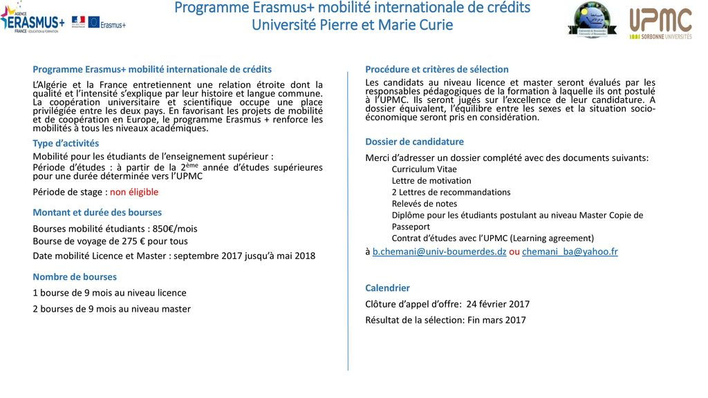 programme erasmus  mobilit u00e9 internationale de cr u00e9dits
