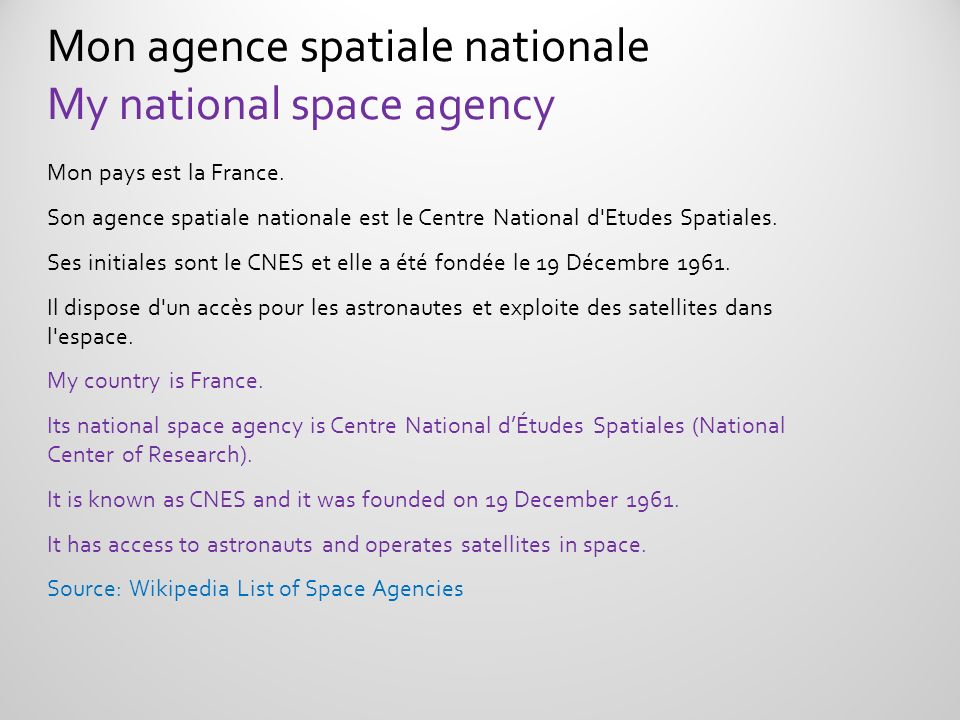 Mon agence spatiale nationale My national space agency