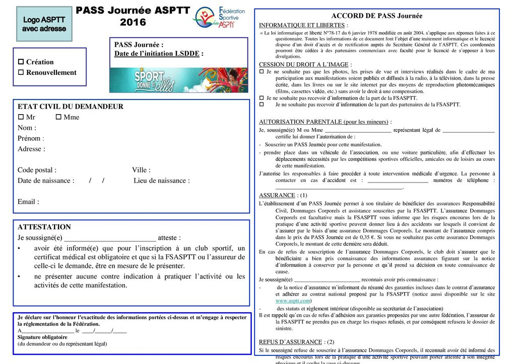 pass journ u00e9e asptt 2016 logo asptt avec adresse accord de pass journ u00e9e