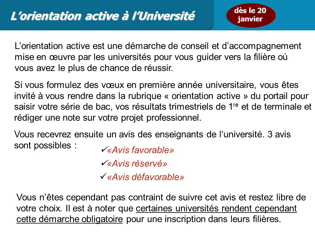 L'orientation active à l'Université