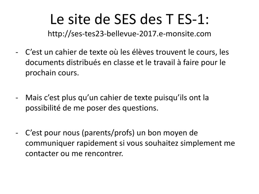 Le site de SES des T ES-1:   e-monsite
